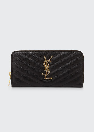 Monogram YSL Matelasse Zip-Around Wallet