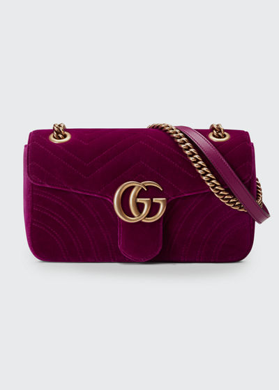 f90aec88f65a45 Gucci GG Marmont Small Quilted Velvet Crossbody Bag