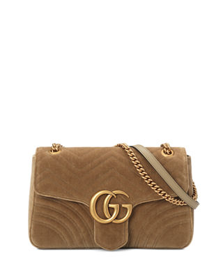 Medium Gg Marmont 2.0 Matelasse Velvet Shoulder Bag - Brown