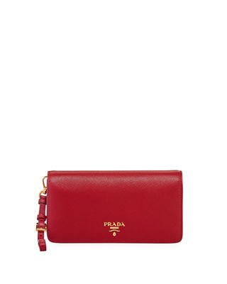 Saffiano Flap Phone Wristlet Wallet W/ Crossbody Strap by Prada