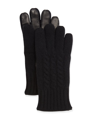 Cable-Knit Cashmere & Leather Gloves