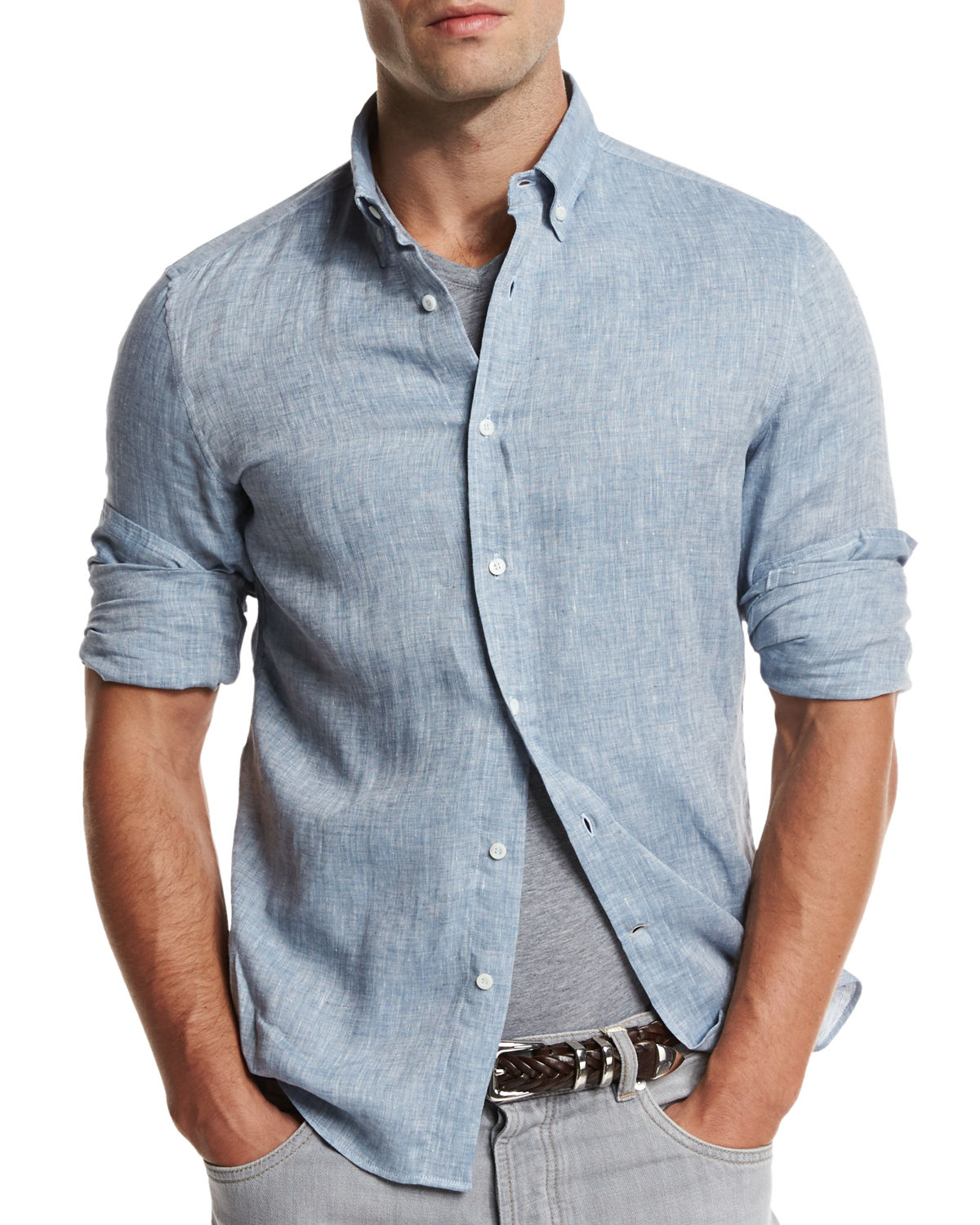 Leisure-Fit Linen Sport Shirt