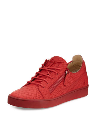 Giuseppe Zanotti Red Embossed Croco Leather Low Top Men'S Sneaker
