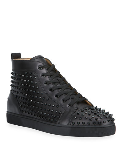 8c0db98fb726 Men s Louis Mid-Top Spiked Leather Sneakers Quick Look. BLACK  BLACK SILVER.  Christian Louboutin