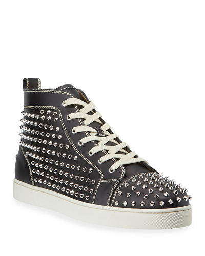 Men's Louis Mid-Top Spiked Leather Sneakers