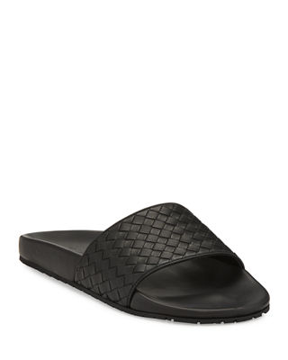 Bottega Veneta Black All Over Logo Piscine Slides