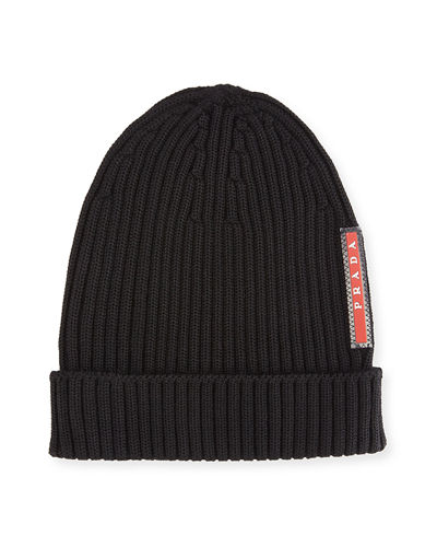Prada logo patch knitted hat Official xkr4k