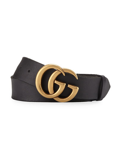01f2e3645 Gucci Men's Leather Belt with Double-G Buckle