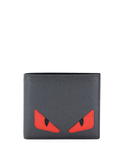 b892ff88 Silver Monster Eyes Leather Bi-Fold Wallet