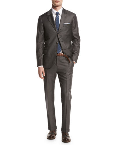Solid 3-Button Two-Piece Suit