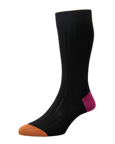 Contrast Heel/Toe Ribbed Dress Socks