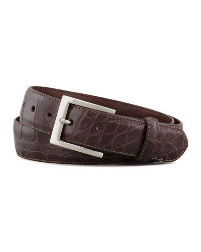 Men's Matte Alligator Belt with Interchangeable Buckles