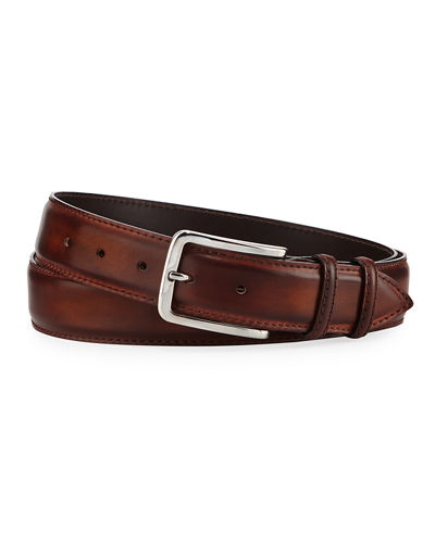 35mm Burnished Leather Belt