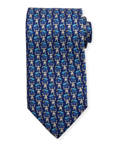 Parachuting Monkey Silk Tie