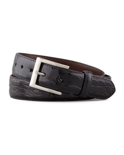 Glazed Alligator Belt, Black