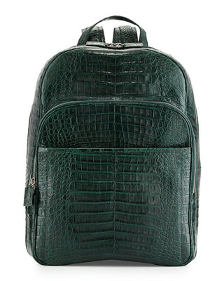SANTIAGO GONZALEZ CAIMAN CROCODILE BACKPACK, HUNTER GREEN