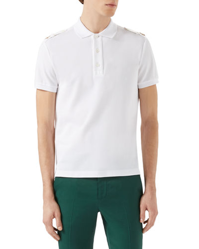 Short-Sleeve Polo Shirt w/Tabbed Shoulders