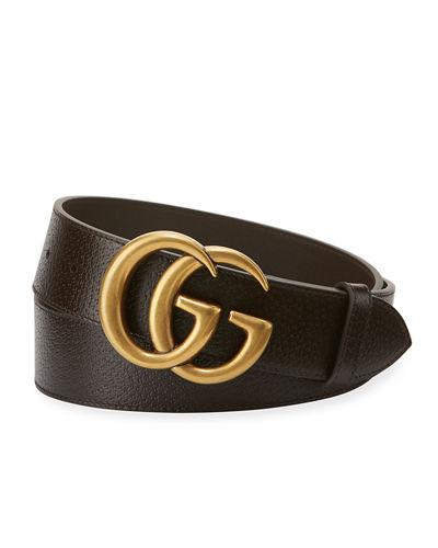 f5a20bb102f Men s Leather Belt with Double-G Buckle Quick Look. Gucci
