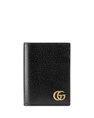 Leather card case with bow - White Gucci