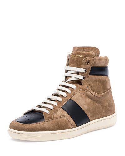 Colorblock Suede High-Top Sneaker, Gray/White