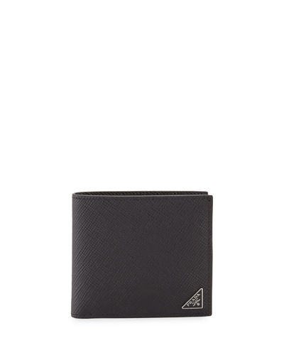 29e8400ec1952a Prada Saffiano Leather Corner-Logo Wallet