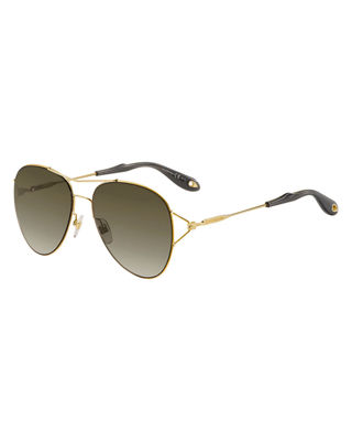 Givenchy Metal Aviator Sunglasses, Gold/Brown