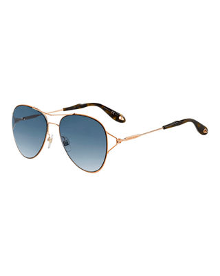 Givenchy Metal Aviator Sunglasses, Gold/Blue