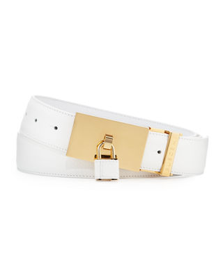 BUSCEMI PADLOCK-BUCKLE LEATHER BELT, BROWN