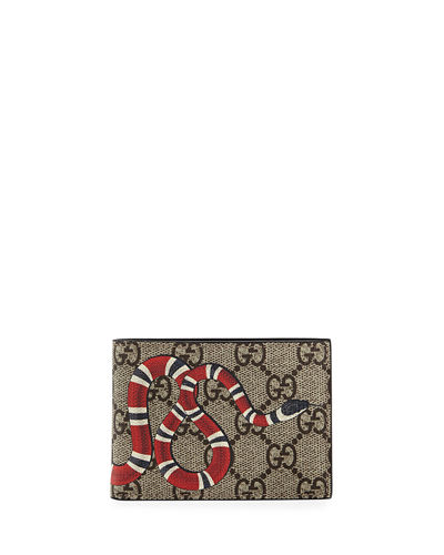 e93d221e58aede Gucci Bestiary Snake-Print GG Supreme Wallet