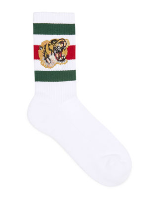 Tiger-Appliquéd Cotton-Blend Ankle Socks - White Size L