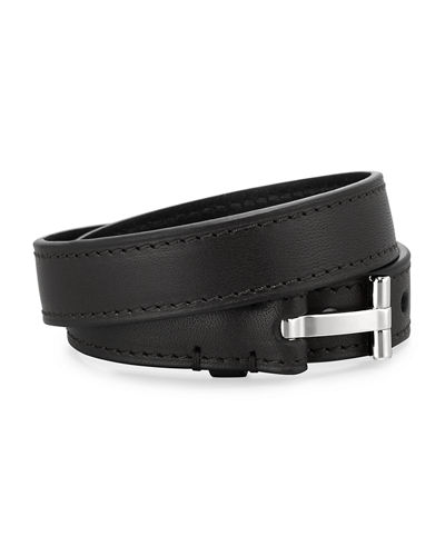 Men's Double-Wrap Leather T-Buckle Bracelet