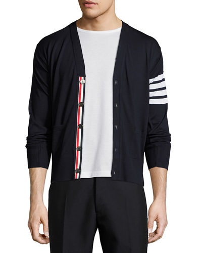 Merino Wool V-Neck Cardigan with Four-Bar Stripe