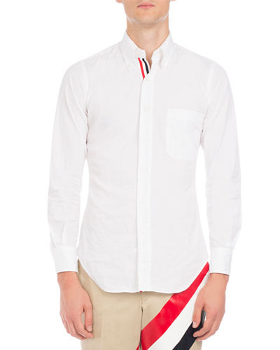 Classic Poplin Shirt with Striped-Placket