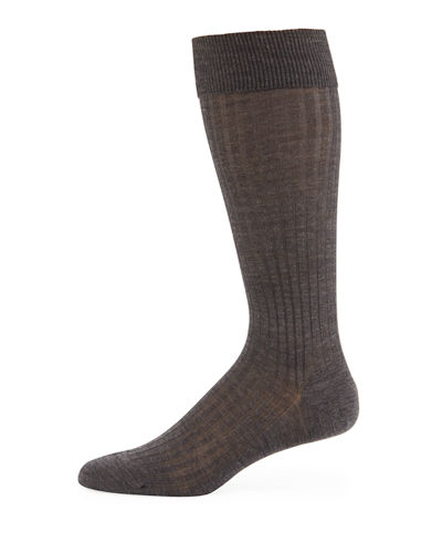 Men's Over-the-Calf Ribbed Merino Wool Socks