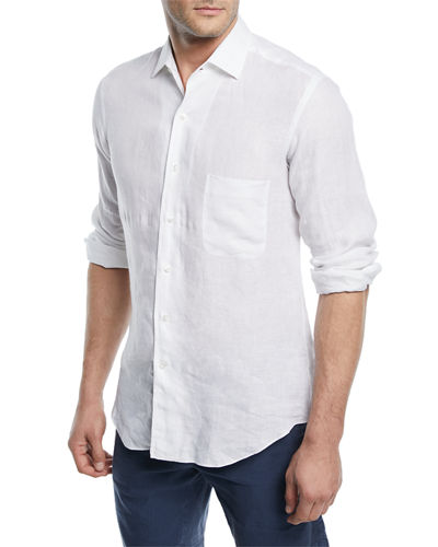 Loro Piana Men's Andrew Long-Sleeve Linen Shirt