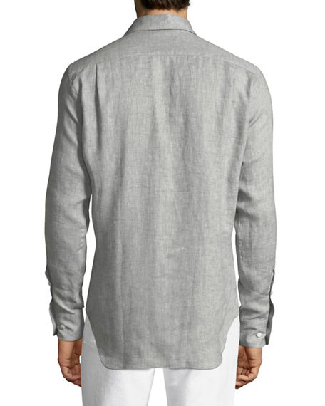f84f87a37 Loro Piana Men's Andrew Long-Sleeve Linen Shirt In Gray | ModeSens