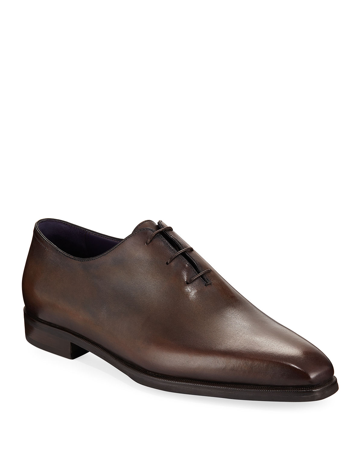 Berluti Oxfords ALESSANDRO DEMESURE LEATHER OXFORDS WITH LEATHER SOLE