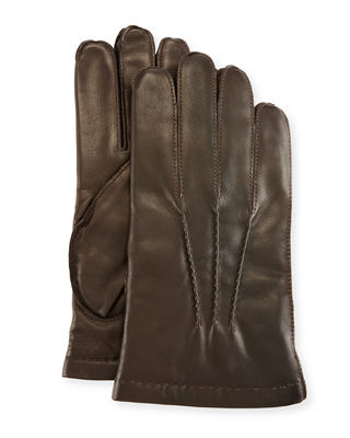 3-Point Napa Leather Gloves W/Cashmere Lining in Chocolate