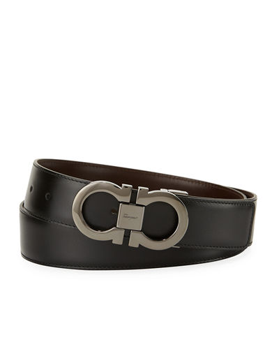 Reversible Leather Double-Gancio Belt
