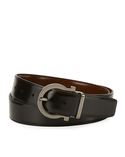 Men's Reversible Leather Gancio Buckle Belt