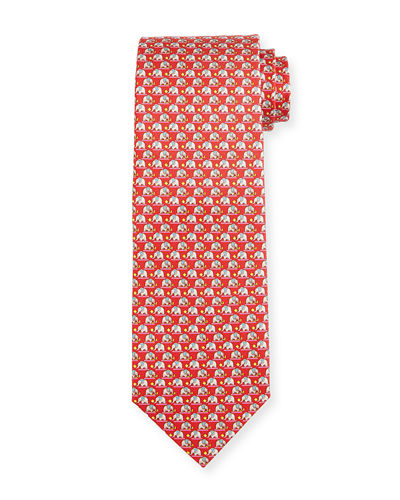 Elephant & Cotton Candy Silk Tie