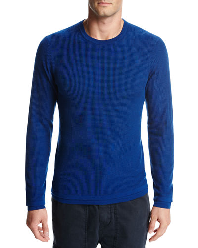 Double-Layer Wool Crewneck Sweater