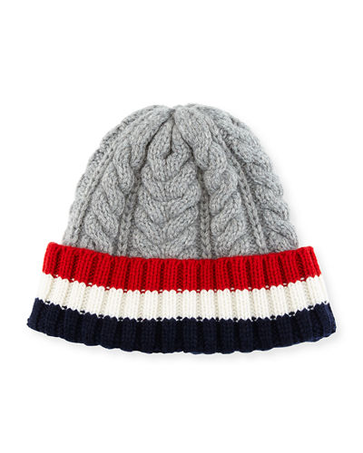 Cable-Knit Hat w/Striped Cuff