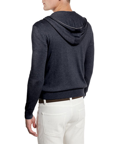 Cashmere-Cotton Zip-Front Hoodie