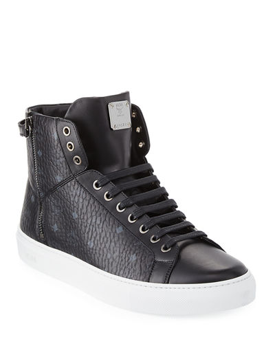 0e41d7e92ae MCM Men's Visetos High-Top Sneakers