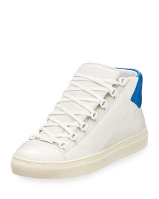Balenciaga Mens Arena Leather Mid-Top Sneakers