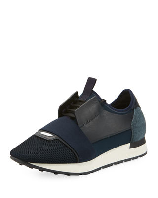 BALENCIAGA Race Runners Leather, Neoprene, Jersey And Mesh Low-Top Sneakers, Blue