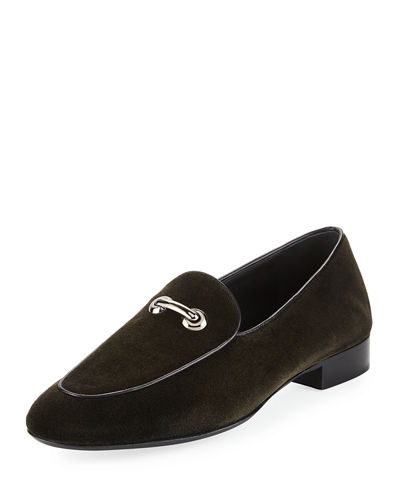 Giuseppe Zanotti Velvet Embellished Loafers Shop Cheap Online Online Shop K60gVdQK