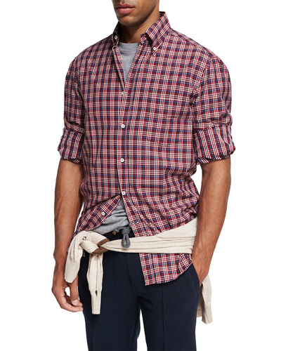 Madras Plaid Cotton Twill Shirt, Red
