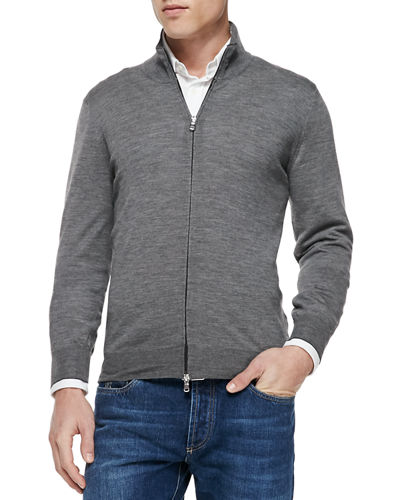 Fine-Gauge Full-Zip Sweater